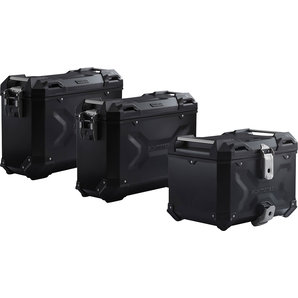 TRAX ADV Koffer-Komplettset schwarz inkl- Träger- Schlösser- Taschen SW-Motech